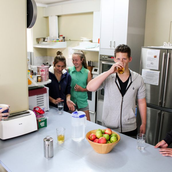Principal and Students in the Kitchen